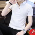 T-shirt Youth fashion routine M L XL 2XL 3XL 4XL Cool castle on E Street Short sleeve Lapel easy daily summer DQC-1536 Cotton 95% polyurethane elastic fiber (spandex) 5% youth routine tide other Summer 2020 Solid color other other No iron treatment Fashion brand Pure e-commerce (online only)