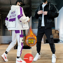 Jacket Cool castle on E Street Youth fashion M L XL 2XL 3XL 4XL routine easy motion autumn HTLBTZ3335 Polyester 100% Long sleeves Wear out Hood tide youth routine Zipper placket other No iron treatment Closing sleeve other polyester fiber Winter of 2019 More than two bags) Digging bags with lids