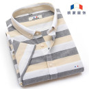 shirt Fashion City Longmont 38/S 39/M 40/L 41/XL 42/2XL 43/3XL 44/4XL Thin money Button collar Short sleeve Self cultivation Other leisure summer L7D0201 youth Cotton 82% flax 18% Chinese style 2018 stripe Linen Summer 2017 Make old Color matching