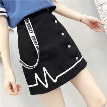 skirt Summer 2021 S,M,L black Short skirt Sweet High waist A-line skirt letter Type A 81% (inclusive) - 90% (inclusive) Denim cotton Three dimensional decoration, buttons, stitching solar system