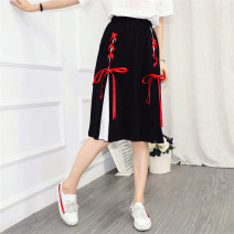 skirt Summer 2020 S,M,L,XL Red rope Mid length dress Sweet High waist A-line skirt other Type A 18-24 years old 81% (inclusive) - 90% (inclusive) Chiffon polyester fiber Tassel, lace, strap, button, stitching Mori