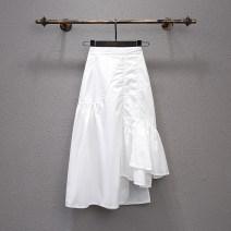 skirt Spring 2021 S,M,L,XL Black, white Mid length dress Versatile High waist A-line skirt Solid color Type A 71% (inclusive) - 80% (inclusive) other Other / other other Asymmetric, zipper, open line decoration, stitching