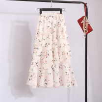 skirt Summer 2021 Average size Mid length dress Versatile High waist Cake skirt Decor Type A 25-29 years old XXXx1 More than 95% Chiffon Other / other polyester fiber Ruffles, pleats, pleats, stitching, printing 401g / m ^ 2 (inclusive) - 500g / m ^ 2 (inclusive)