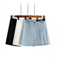 skirt Spring 2021 S,M,L,XL Blue, white, black Short skirt commute High waist Irregular Solid color Type A 51% (inclusive) - 70% (inclusive) Other / other cotton Bandage Korean version