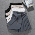 skirt Spring 2021 S,M,L,XL Black, white, apricot, grey, coffee Short skirt Versatile High waist Pleated skirt Solid color Type A DLD7559 More than 95% Other / other other Tuck, fold, lace, strap, button, zipper, stitching