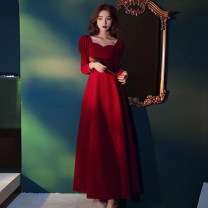 Dress / evening wear wedding , party , daily XXL,XXXL,S,M,L,XL Red, black Sweet longuette High waist Spring 2021 Fluffy skirt square neck zipper polyester fiber 26-35 years old Long sleeves Solid color puff sleeve 51% (inclusive) - 70% (inclusive)