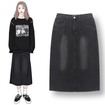 skirt Autumn 2020 S,M,L Carbon grey Mid length dress commute High waist Denim skirt Solid color Type A 18-24 years old More than 95% cotton Korean version