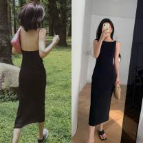 Dress Summer 2020 black S,M,L Short skirt singleton  Short sleeve commute Polo collar Elastic waist Solid color zipper A-line skirt routine Others 25-29 years old Type A Retro Splicing 30% and below knitting other