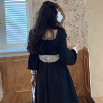 Dress Autumn 2020 Black long sleeve dress, black short sleeve dress XS,S,M,L,XL,2XL Mid length dress singleton  Long sleeves commute V-neck High waist Solid color Socket A-line skirt routine Others Type A Korean version Hollowed out, stitched, button, lace other other