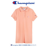 Dress Summer 2021 White p303, pink p303, dark blue p303 S,M,L,XL Middle-skirt singleton  Short sleeve street Polo collar middle-waisted letter Three buttons other routine Oblique shoulder Type H CHAMPION Embroidery p303 More than 95% knitting cotton Sports & Leisure