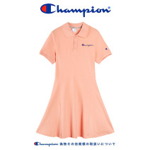 Dress Summer 2021 S,M,L,XL Middle-skirt singleton  Short sleeve commute Polo collar middle-waisted letter Three buttons Princess Dress routine Oblique shoulder Type X CHAMPION Ol style Embroidery More than 95% knitting cotton