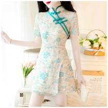 Dress Spring 2020 Picture color: white 8301, white 8228, yellow 8228, green 8197, blue 8198 L,S,M Short skirt Short sleeve stand collar routine
