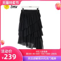 skirt Summer 2020 S M L XL Mid length dress Versatile High waist Little black dress Solid color 30-34 years old 31% (inclusive) - 50% (inclusive) Emu/ Yimiao polyester fiber Gauze lace Pure e-commerce (online only)