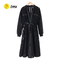 Dress Spring 2020 [90] black S M Mid length dress singleton  Long sleeves V-neck middle-waisted Solid color Socket A-line skirt routine 18-24 years old Emu/ Yimiao Embroidery More than 95% polyester fiber Polyester 100%