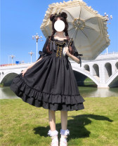 Dress Summer 2020 Classic black Average size Middle-skirt singleton  Short sleeve Sweet square neck High waist Solid color zipper Princess Dress bishop sleeve 18-24 years old Type H Other / other Frenulum 51% (inclusive) - 70% (inclusive) Lolita