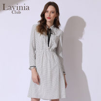 Dress Spring of 2019 Black spots on white background 160/84A 165/88A 170/92A Middle-skirt singleton  Long sleeves commute Lotus leaf collar High waist Dot A-line skirt Petal sleeve 25-29 years old Type A Lavinia club / Lavinia Simplicity More than 95% polyester fiber Polyester 100%