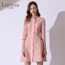 Dress Spring of 2019 Pink 160/84A 165/88A 170/92A Middle-skirt singleton  Nine point sleeve commute Half high collar High waist Solid color A-line skirt routine 25-29 years old Type A Lavinia club / Lavinia Simplicity J191LQ40 More than 95% nylon Polyamide fiber (nylon) 100%