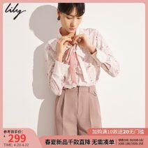 Lace / Chiffon Summer 2021 one hundred and twenty 	 Light pink 120 	 Light pink a 155/80A/S 160/84A/M 165/88A/L 170/92A/XL Long sleeves commute Socket singleton  easy Regular Scarf Collar Decor shirt sleeve 25-29 years old Lily / Lily 121209C8941120-526255 Lace up printing with ruffles Ol style