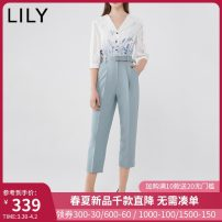 Jumpsuit / pants 96% and above Capris / Capris polyester fiber High waist commute 404 light blue 150/76A/XS 155/80A/S 160/84A/M 165/88A/L 170/92A/XL Thin money Summer 2020 Lily / Lily zipper Same model in shopping mall (sold online and offline)