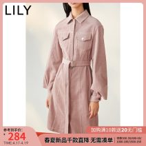 Dress Spring 2020 120 light powder 150/76A/XS 155/80A/S 160/84A/M 165/88A/L 170/92A/XL Mid length dress singleton  Long sleeves commute Polo collar middle-waisted Solid color Single breasted Pencil skirt Petal sleeve 25-29 years old Type H Lily / Lily Ol style Pocket button 120100C7623 More than 95%