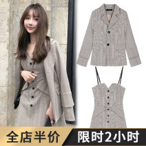 Women's large Spring 2020 S M L XL 2XL 3XL 4XL Dress Two piece set commute easy moderate Socket Long sleeves Stripe check solid Ol style Polo collar routine polyester Three dimensional cutting shirt sleeve Grass seed wood clothes 18-24 years old Button 91% (inclusive) - 95% (inclusive) other