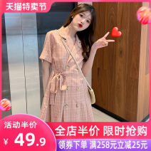 Women's large Spring 2020 Dress singleton  Sweet easy thin Cardigan Short sleeve lattice V-neck Medium length Three dimensional cutting Flying sleeve Grass seed wood clothes 18-24 years old belt Short skirt Other polyester 95% 5% Pure e-commerce (online only) Ruffle Skirt shorts Three buttons
