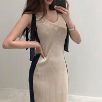 Dress Summer 2020 Apricot, black Average size longuette