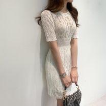 Dress Summer 2020 Black, white Average size Mid length dress Short sleeve Crew neck High waist Solid color