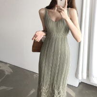 Dress Summer 2020 White, green, black Average size longuette Sleeveless V-neck High waist Type A 31% (inclusive) - 50% (inclusive) other
