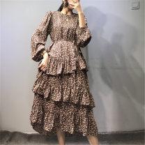 Dress Summer 2020 Black, apricot, brown Average size Mid length dress singleton  Long sleeves Sweet Crew neck Decor Cake skirt puff sleeve Type A Chiffon Cellulose acetate Ruili