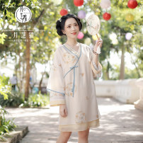 Dress Spring of 2019 Outside shirt and inside skirt 155/80 160/84 165/88 170/92 Middle-skirt 18-24 years old Yuezhi cat 1749A More than 95% polyester fiber Polyester 100%