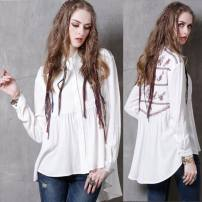 shirt Pearl White M, L Spring 2021 cotton 91% (inclusive) - 95% (inclusive) Long sleeves commute Regular Polo collar Single row multi button routine Solid color 30-34 years old Straight cylinder Retro Embroidery, fold, asymmetry, button
