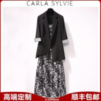 Women's large Spring 2021 Big XL, big XXL, big XXXL, big XXXXL, big L, m, s suit Two piece set commute Self cultivation moderate Cardigan three quarter sleeve Solid color Ol style routine Three dimensional cutting routine CARLA SYLVIE 25-29 years old Button 81% (inclusive) - 90% (inclusive)