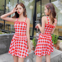 one piece  Independent brand S [recommended 80-90 kg], m [recommended 90-100 kg], l [recommended 100-110 kg], XL [recommended 110-120 kg] Red 9970, blue 9970, black 9970 Skirt one piece With chest pad without steel support Polyester, others D9970 female lattice