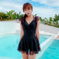 one piece  other S [recommended 80-90 kg], m [recommended 90-100 kg], l [recommended 100-110 kg], XL [recommended 110-120 kg] 6033 black, 6033 Beige Skirt one piece Steel strap breast pad Polyester, others female Sleeveless Casual swimsuit Solid color backless