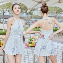 one piece  Independent brand One piece flat corner swimsuit With chest pad without steel support Polyester, others Sleeveless Animal design