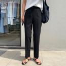 Casual pants Black / black, green / Green S (spot), m (spot), l (spot) Summer 2020 trousers Straight pants High waist commute routine 31% (inclusive) - 50% (inclusive) iS3165 Municipal shipping department polyester fiber Korean version