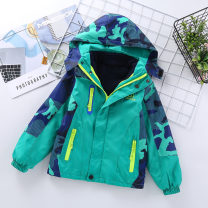 Plain coat Other / other male 120, 130, 140, 150, 160 and 170 respectively Striped camouflage detachable Jacket - green, striped camouflage detachable Jacket - blue, striped camouflage detachable Jacket - red No season motion Zipper shirt No model thickening Detachable cap Polyester 100%
