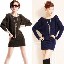 Dress Spring 2021 Gold, silver, blue S,M,L,XL,2XL,3XL Short skirt singleton  Long sleeves commute Crew neck Elastic waist Solid color Socket One pace skirt Bat sleeve Others 25-29 years old Korean version Sequins 81% (inclusive) - 90% (inclusive) knitting polyester fiber