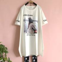 T-shirt Black, white, blue, lotus root, milky white Average size Summer of 2019 Short sleeve Crew neck easy Medium length routine commute cotton 71% (inclusive) - 85% (inclusive) Korean version youth character printing