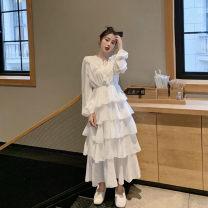 Dress Spring 2021 White, black Average size longuette Long sleeves Crew neck High waist Cake skirt routine 18-24 years old