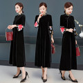 Dress Autumn of 2019 black M,L,XL,2XL,3XL,4XL Mid length dress singleton  three quarter sleeve commute stand collar Loose waist other other routine Others Type A ethnic style Embroidery 31% (inclusive) - 50% (inclusive)