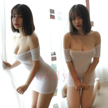 skirt Autumn of 2018 Average size White, black Miniskirt sexy low-waisted Little black dress Solid color Type H 25-29 years old nylon