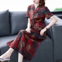 Dress Summer 2021 Plum blossom and safflower L XL 2XL 3XL 4XL Mid length dress singleton  Short sleeve commute stand collar High waist Decor Socket routine Others 40-49 years old Youranxu / youranxuan Retro More than 95% other Other 100% Pure e-commerce (online only)