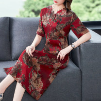 Dress Summer 2021 Decor L XL 2XL 3XL 4XL 5XL Mid length dress singleton  Short sleeve commute V-neck High waist Decor Socket A-line skirt routine Others 40-49 years old Type A Youranxu / youranxuan Retro printing More than 95% other Other 100% Pure e-commerce (online only)