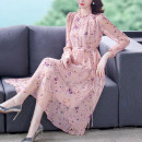 Dress Summer 2021 Pink M L XL 2XL 3XL longuette singleton  Long sleeves commute Crew neck middle-waisted Decor Socket A-line skirt routine 30-34 years old Type A Youranxu / youranxuan Retro printing More than 95% Chiffon other Other 100% Pure e-commerce (online only)
