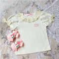 T-shirt Pleated collar bow T-shirt Other / other 80cm,90cm,100cm,110cm,120cm,130cm,140cm female 12 months, 9 months, 18 months, 2 years old, 3 years old, 4 years old, 5 years old