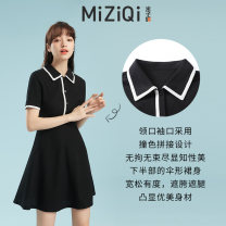 Dress Spring 2021 black S M L XL Middle-skirt singleton  Short sleeve commute Polo collar High waist Single breasted A-line skirt routine 18-24 years old Mizi banner Korean version WW4.2 51% (inclusive) - 70% (inclusive) cotton Cotton 65% polyethylene terephthalate (polyester) 35%