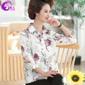 Middle aged and old women's wear Spring 2021 White safflower white safflower white safflower white trousers white safflower white trousers XL 2XL 3XL 4XL fashion shirt easy singleton  Broken flowers 40-49 years old Cardigan moderate Polo collar routine shirt sleeve ZJ32108 Ziji polyester