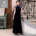 cheongsam Autumn of 2018 S M L XL XXL Dark blue customization Short sleeve long cheongsam ethnic style High slit perform Round lapel Solid color Over 35 years old A1731 Doriki polyester fiber Polyester 98% polyurethane elastic fiber (spandex) 2% Pure e-commerce (online only) 96% and above